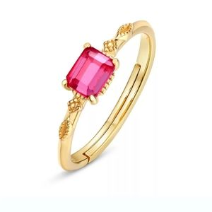 Red Corundum Adjustable Ring